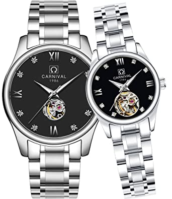d2f0683e4ec9 CARNIVAL His or Hers Automatic Mechanical Couple Watch Men and Women Gift  Set of 2 (