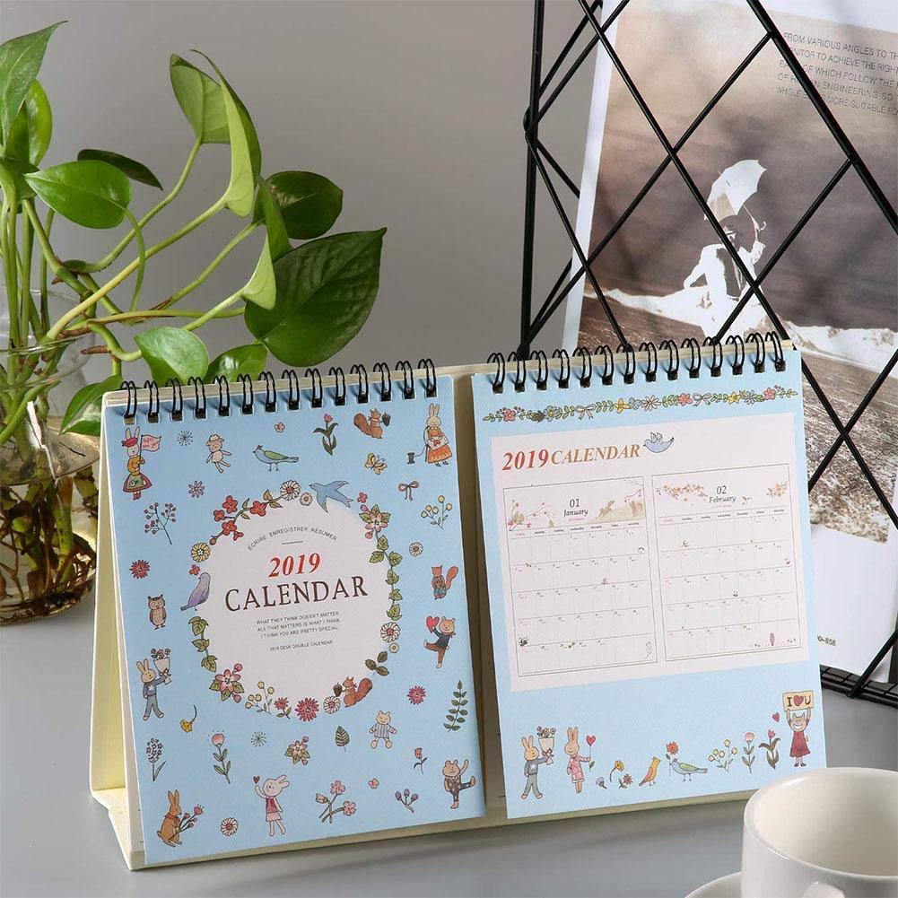 luglio 2018/a Dicembre 2019/Calendario da Tavolo con Supporto Chengstore 2019/Home Office Tavolo Calendario Planner Academic Calendario Calendario Planner Daily Desktop Calendario mensile Blue