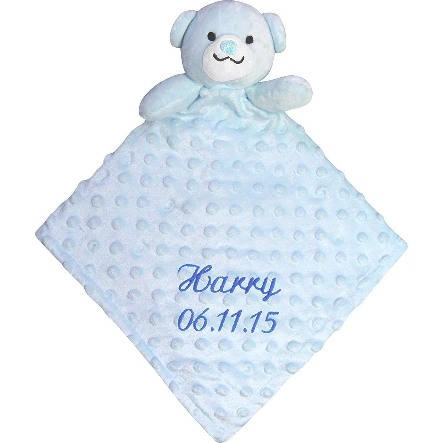 Personalised Baby Super Soft & Fluffy Comforter Blanket with 3D Teddy Bear (Blue) TeddyT's