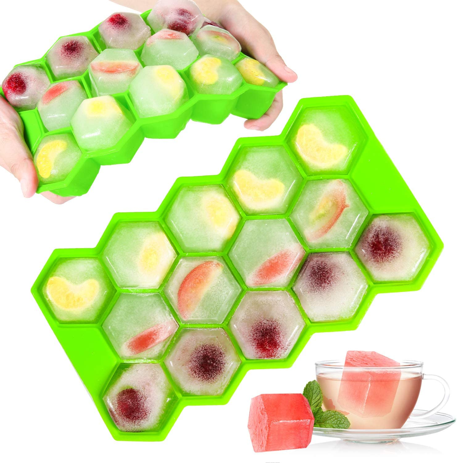 Ice Cube Trays with Lids,2-Pack 28 Large Ice Cubes Food Grade Silica Gel Flexible and BPA Free with Removable and Sealed Lid Design Ice Cube Molds for Chilled Drinks, Whiskey