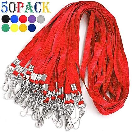 Cordones para tarjetas de identificación (50 unidades, color rojo)