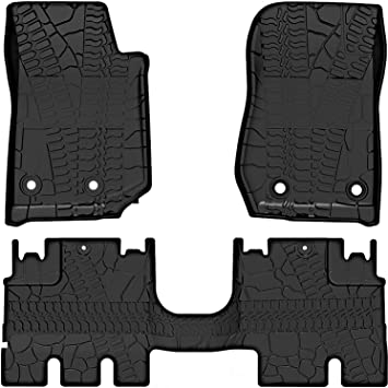 ICARS Floor Mats for 2018 2019 Jeep Wrangler JL 4 Door All Weather Guard Black TPE Front and Rear Full Set Liners Not for JL 2 Door /& JK Models