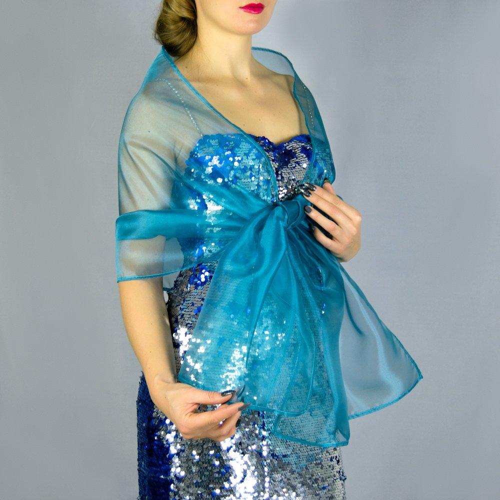 Chal organza color verde azul pavo real novia boda novia para vestido de fiesta: Amazon.es: Handmade