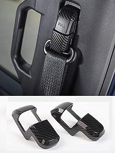 Car Seats Safety Belt Button Cover Frame Decor Trim for Ford F150 2015 2016 2017 2018 (Carbon Fiber)