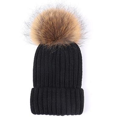 ac732d0e160 Valpeak Womens Winter Fur Hats Real Large Detachable Raccoon Fur Pom Pom  Beanie Hat (Black