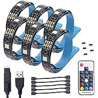 Rétro-éclairage LED TV, USB Bais éclairage RGB LED Bande avec Ruban Adhésif Thermique et 17Keys RF Télécommande Sans fil pour Téléviseur HD, Moniteur PC (x6 x 50cm bandes LED)