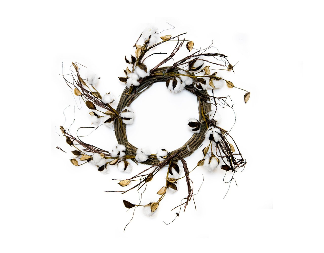 CraftMore Cotton Twig Wreath, 24 Inch by CraftMore (Image #1)