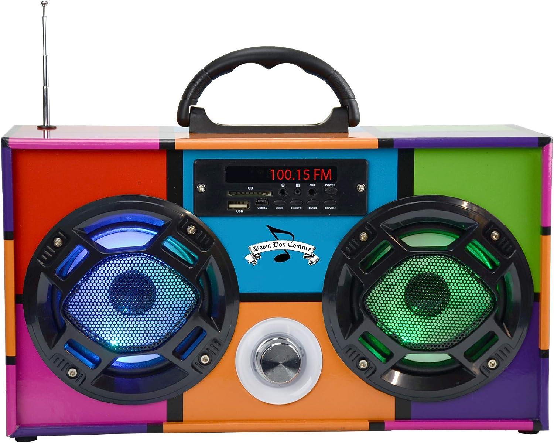 Sykik SP2091BT Bluetooth Boombox Speaker FM Radio SD USB Color Light Show NEW