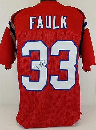 Kevin Faulk  quot 3X SB Champs quot  Patriots Signed Red Jersey JSA  Authentic Autograph c40437e5a