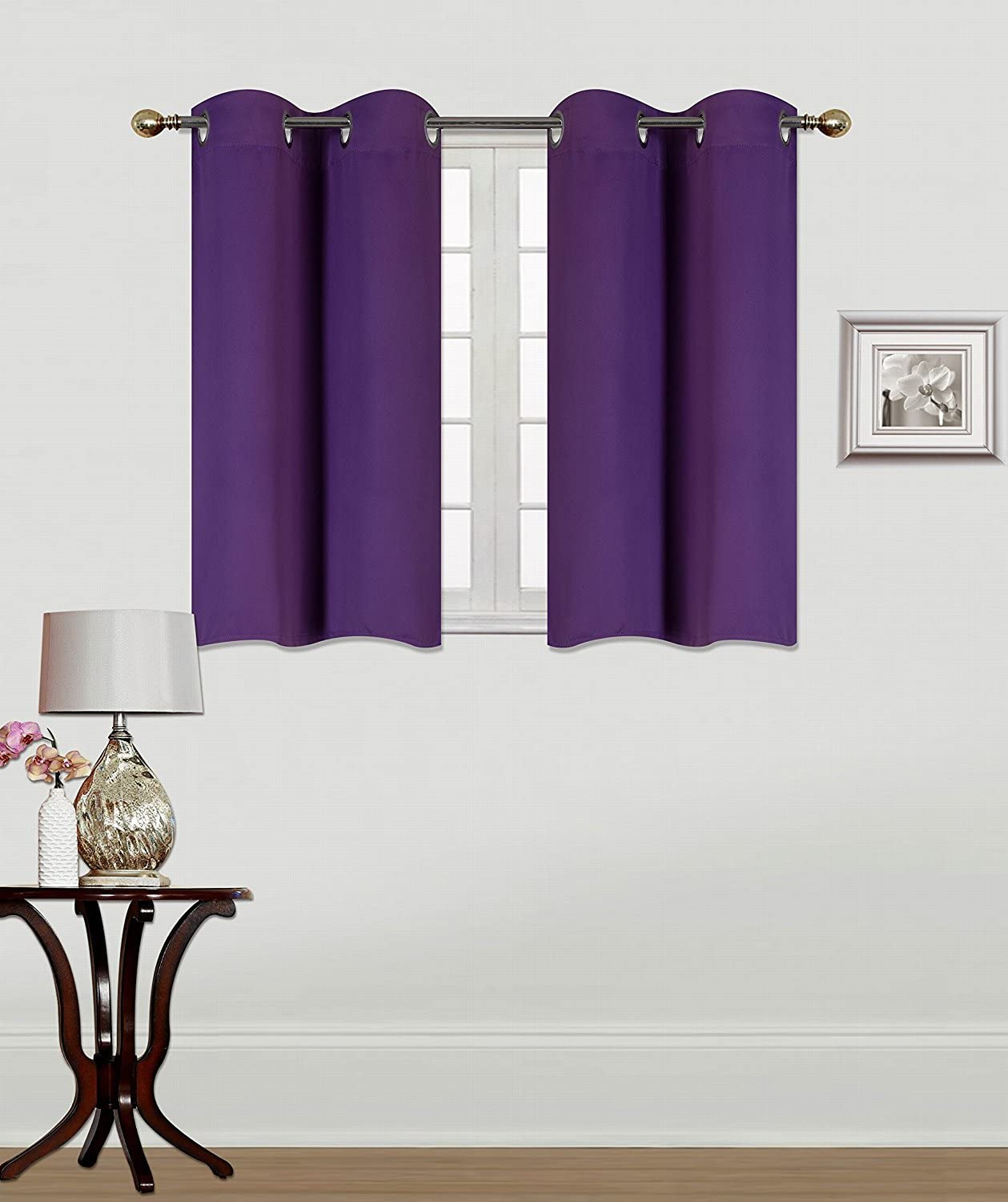 """Elegant Home 2 Panels Tiers Grommets Window Treatment Curtain Thermal Heavy Thick Insulated Blackout Drapes Short Panel 30"""" W X 36"""" L Each for Kitchen Bathroom or Any Small Window # K30 (Purple)"""
