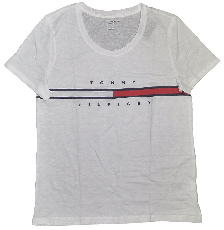 b91d3353dd92 Tommy Hilfiger Women s Big Logo Line T-Shirt  Amazon.ca  Clothing    Accessories