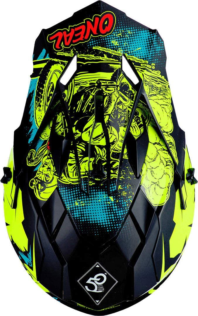 Oneal 2SRS Youth Helmet Villain Neon Yellow Casco
