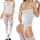 57c7e913dec White QueensHot Sexy Sheer Lingerie Babydoll Suspender Corset Nightie  Leotard Body Suit Stocking White One size