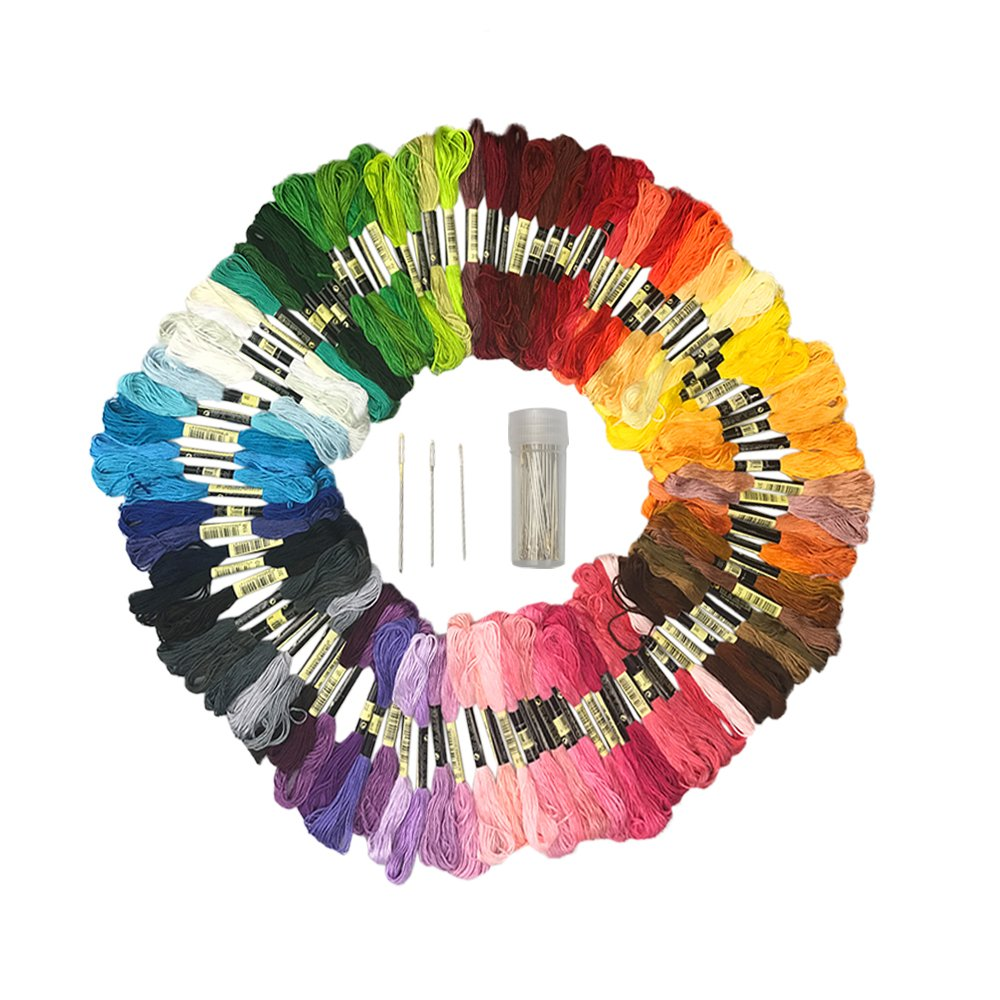 130 PCS 100 Colors Assorted Color Skeins Embroidery Floss Cross Stitch Thread with 30 Pieces Needles Lemimo