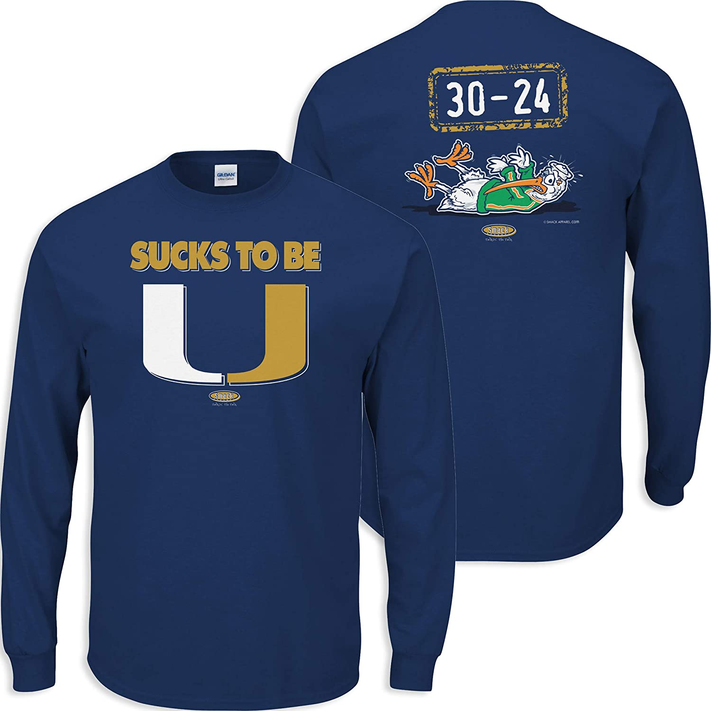 Smack Apparel Florida International Football Fans. Sucks to Be U (Anti-Hurricanes) Navy T-Shirt (Sm-5X)