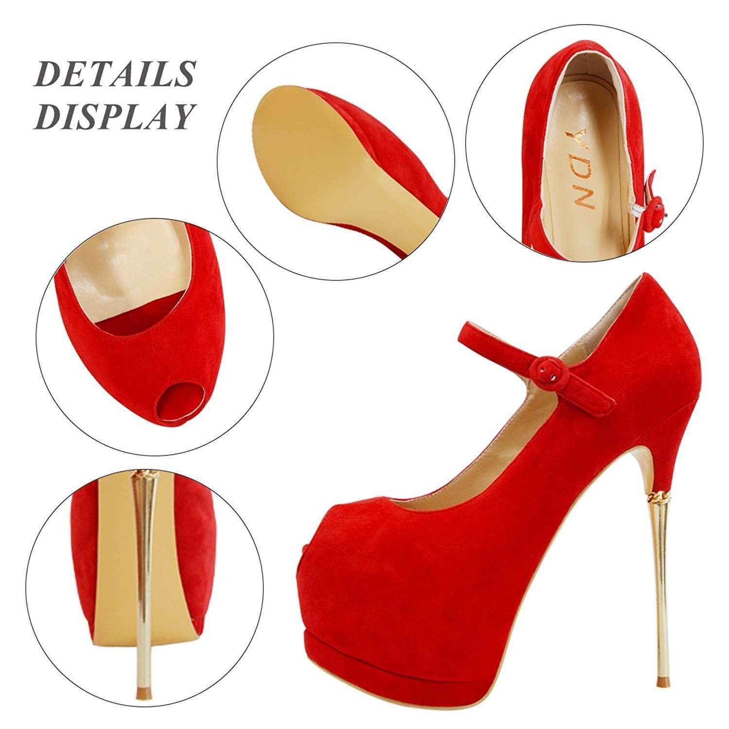 YDN Women Peep Toe Sky High Heels Platform Pumps Ankle Straps Shoes Metal Stilettos B01CEIH5NA 12 M US|Red