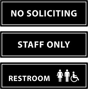 """Assorted Acrylic Door Signs for Business and Office -""""No Soliciting"""",""""Staff Only"""",""""Restroom"""" 