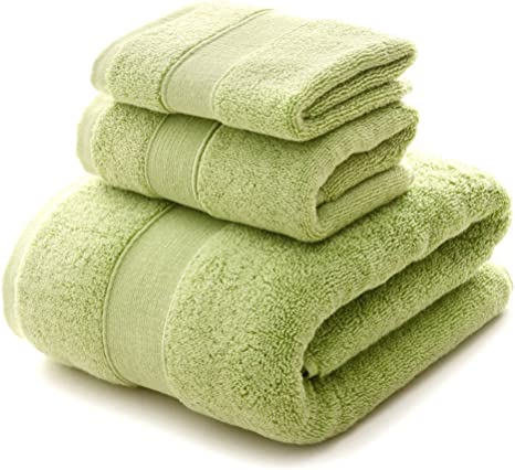 Yih Bath Towel Sets 900 Gsm Premium 3 Piece Bathroom Sheets Green Luxury Hotel Spa 100 Cotton 1 Bath Towels 1 Hand Towels And 1 Washcloths Home Kitchen