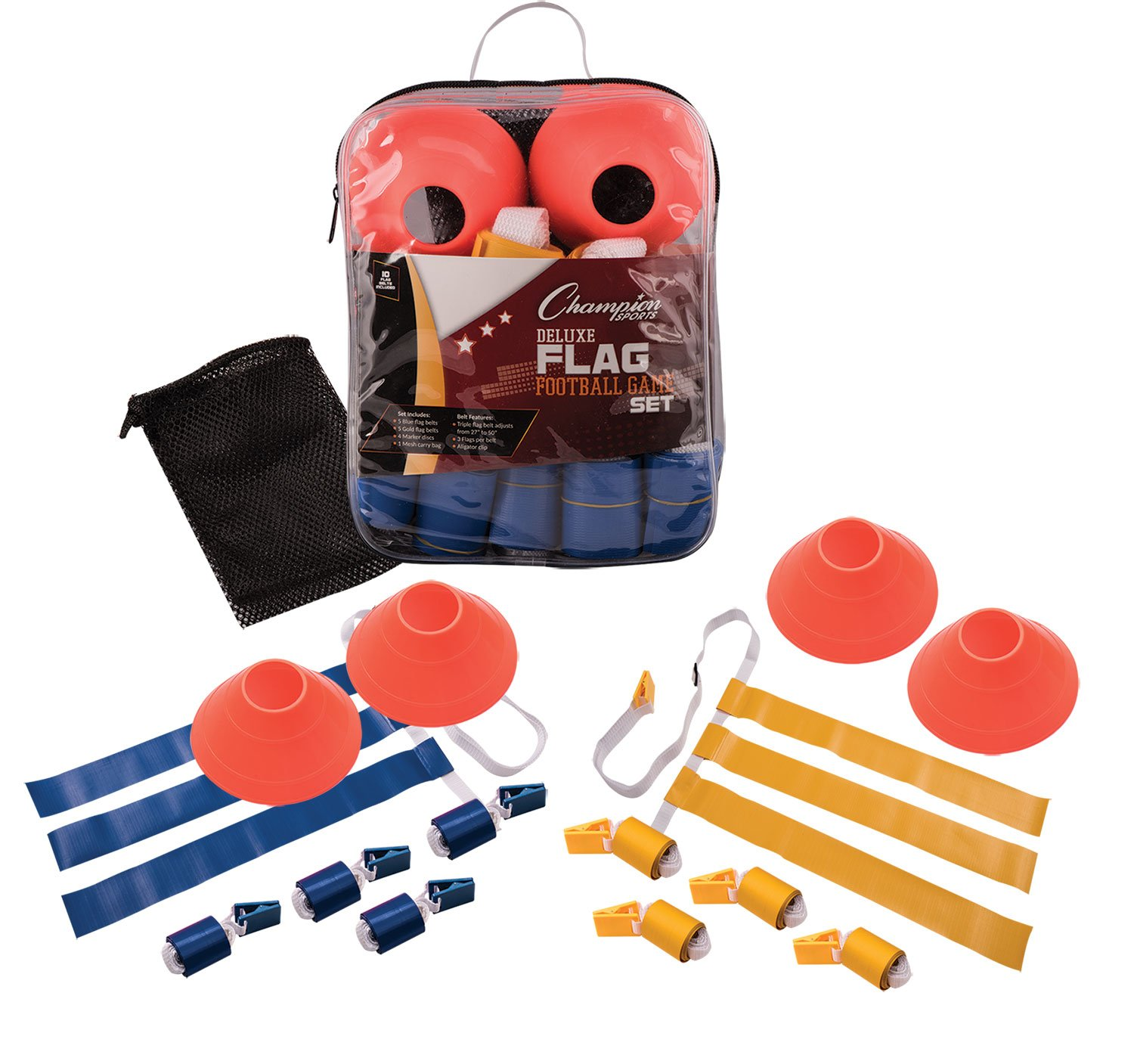 Champion Sports Deluxe Flag Football Game Set Flag Football Equipment -  Game Sets with 5 Blue 717389735