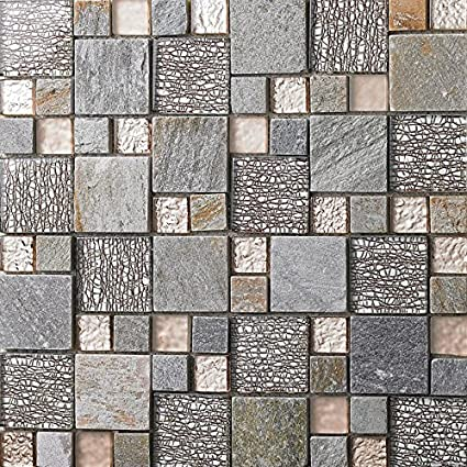 Rose Gold Glass Clear/Matte Crystal Tile Gray Stone Mosaic Magic Patterns    Kitchen Or Bathroom Backsplashes/Shower Walls (Box Of 11 Sheets)      Amazon.com