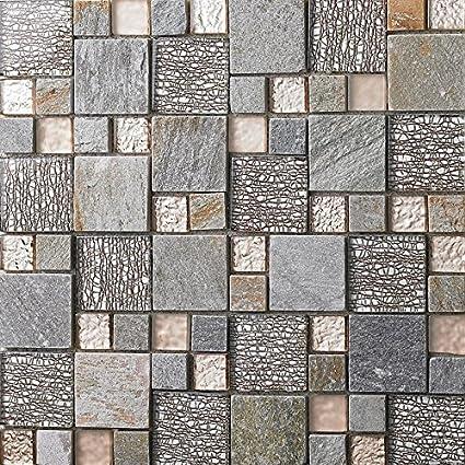 Sensational Rose Gold Glass Clear Matte Crystal Tile Gray Stone Mosaic Download Free Architecture Designs Scobabritishbridgeorg