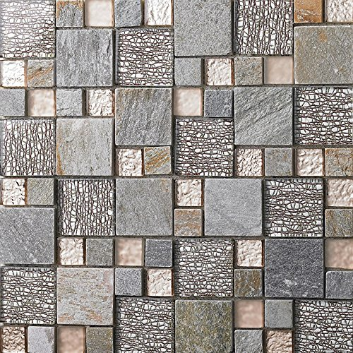 Rose Gold Glass Clear/Matte Crystal Tile Gray Stone Mosaic Magic Patterns - Kitchen or Bathroom Backsplashes/Shower Walls (Box of 11 - Tile Box Rose