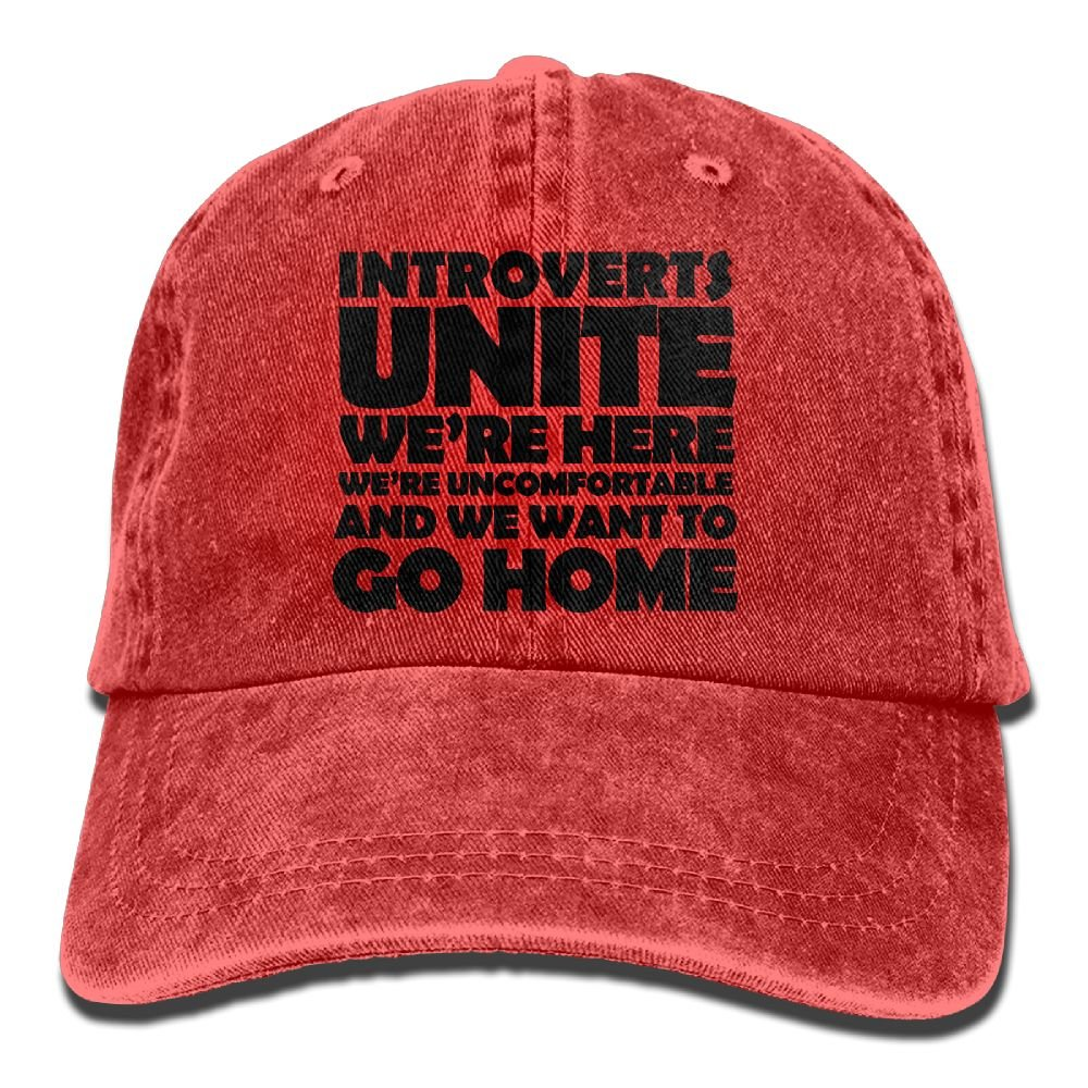 Hat Introverts Unite Denim Skull Cap Cowboy Cowgirl Sport Hats For Men Women Huayaa