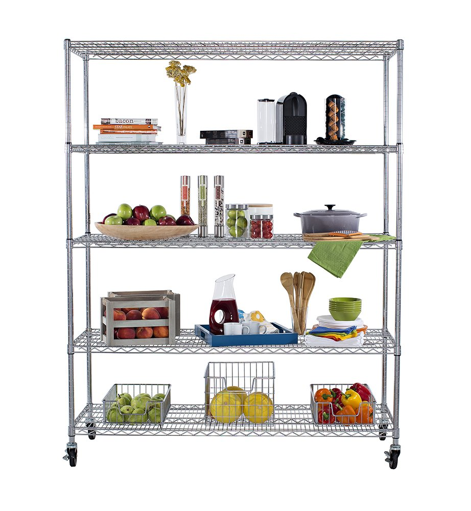 TRINITY 5-Tier NSF Heavy Duty X-Large Wire Shelving Rack with Wheels ...