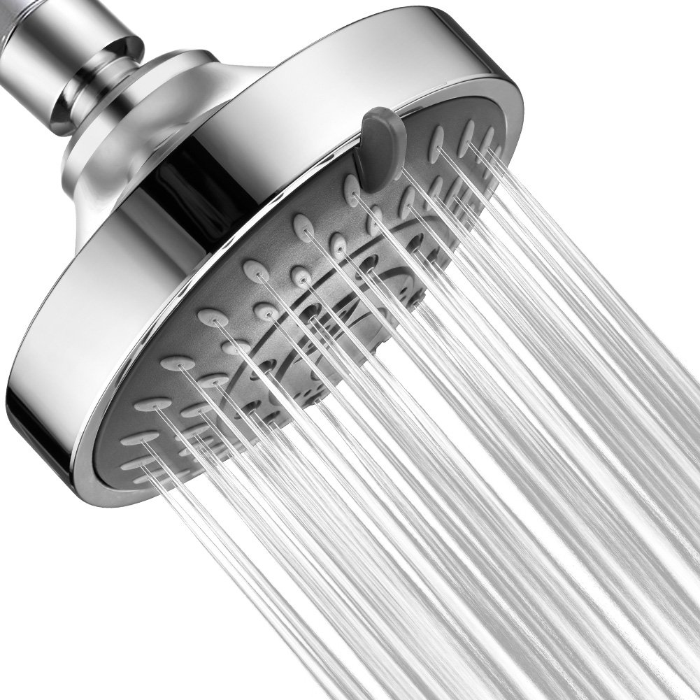 Shower Head High Pressure VAGREEZ 5 Functions Showerhead with Massage Experience, Removable Water Restrictor, Chrome Finish, Wall Mounted, 4.2'' Adjustable Shower Heads for Spa Treatment at Home