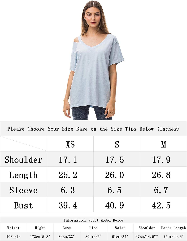 MessBebe Magliette Donna Manica Corta T-Shirt in Cotone Basic Camicetta Estivo Scollo V dalla Spalla Camicia Casuale Comodo Top Tunica Tinta Unita