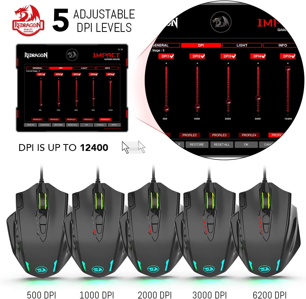 19 Programmable Mouse Buttons Redragon M908 Impact RGB LED MMO Mouse with Side Buttons Laser Wired Gaming Mouse with 12,400DPI High Precision