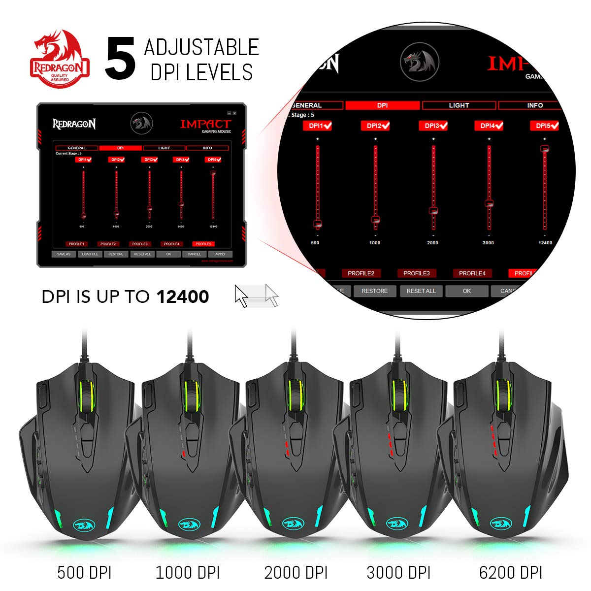 Redragon Impact RGB LED MMO Mouse with Side Buttons Laser Wired Gaming Mouse with 12,400DPI, High Precision, 19 Programmable Mouse Buttons by Redragon (Image #4)