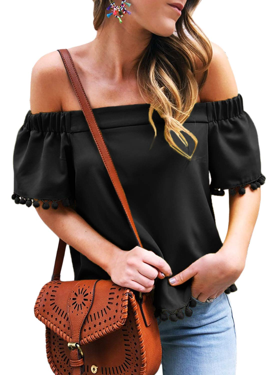 Asvivid Womens Sexy Pop Pop Trim Off The Shoulder Strapless Blouses Tassel Loose Short Sleeve Tee Tops M Black