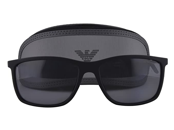 afba6480040 Image Unavailable. Image not available for. Colour  Emporio Armani EA 4058  Black Rubber w Polarized Gray Lens 5063 81 ...