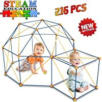 HOMOFY Play Tents Fort Building Kits for Kids - Fun Forts STEM Building Toys,Play Tent Fort Kit with 216 Pcs Foldable Playhouse Toy for Indoor & Outdoor Gifts for Kids 3 4 5 6 Year Olds Boys Girls