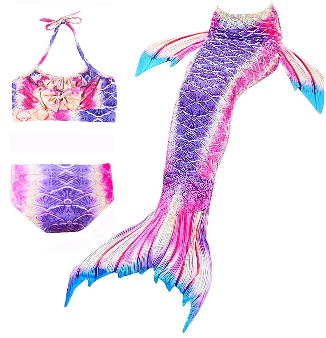 Girl's 3 Pcs Mermaid Tail Swimsuit Princess Sea-Maid Swimmable Bikini Set Bathingsuit SwimwearTwoVest