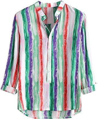 Sunnywill - Camisa Informal de Manga Larga de algodón a Rayas ...