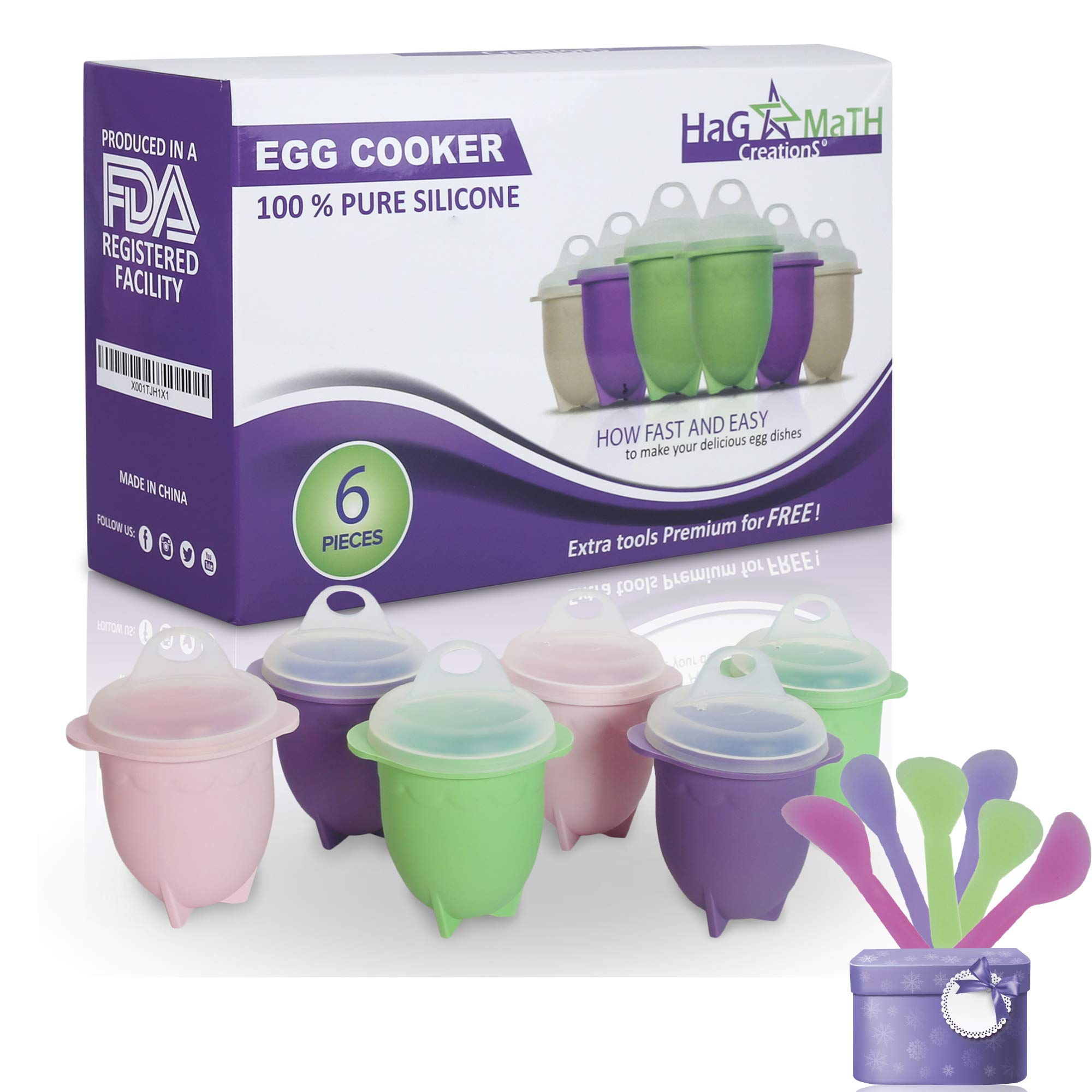 Hag & MaTH Egg Cooker for Boiling & Microwave, Hard Boiled Egg Maker Without the Shell, Set of 6 Non-Stick Silicone Egg Poacher Cups and Lids + Bonus Items by Hag & Math