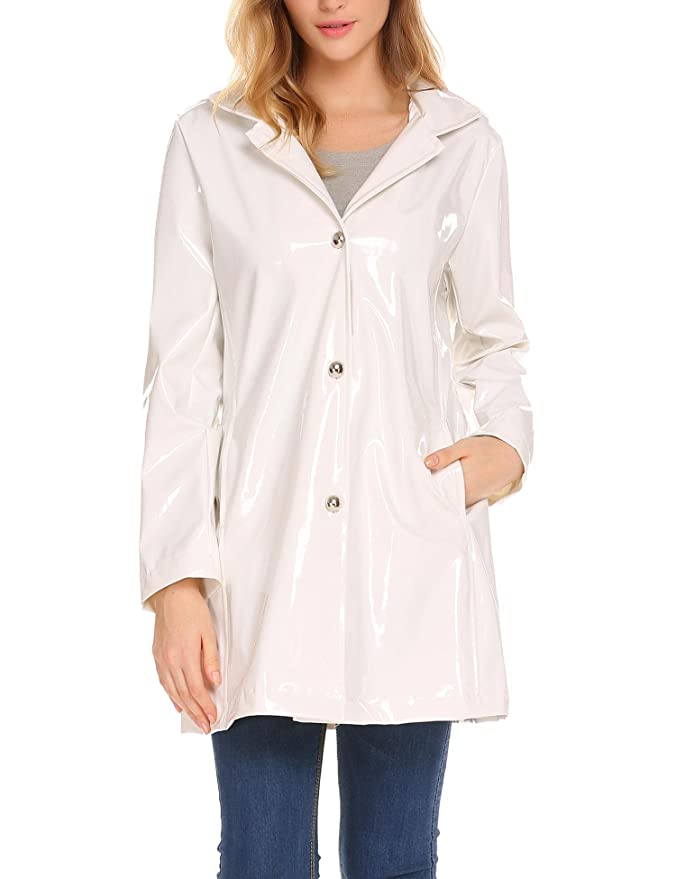ELESOL Women's Casual Button Front Hooded Raincoat Packable Waterproof Rain Jacket