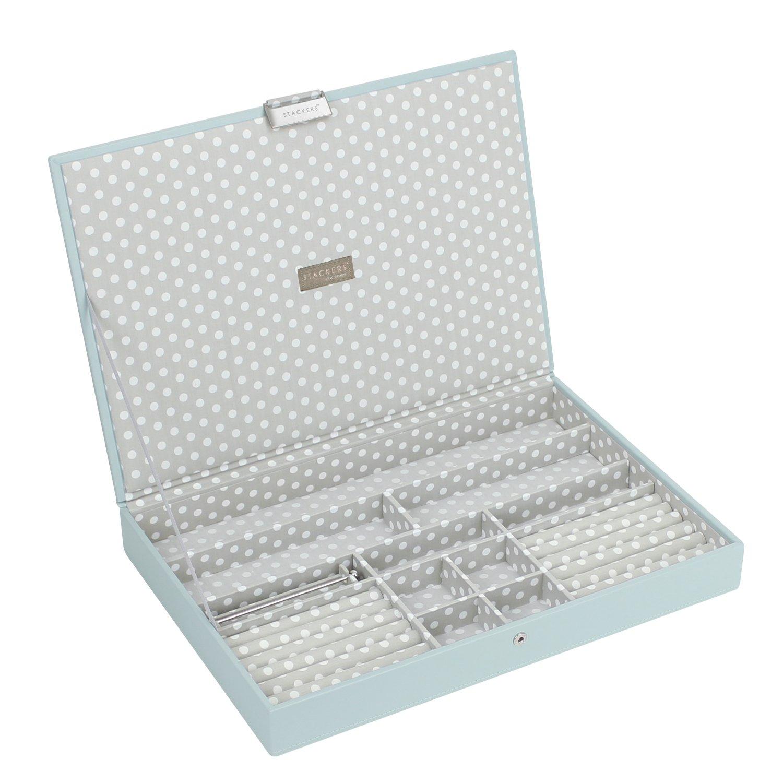 de algod/ón gris con lunares Stackers jewelry box accessory encanto y cord/ón de bar
