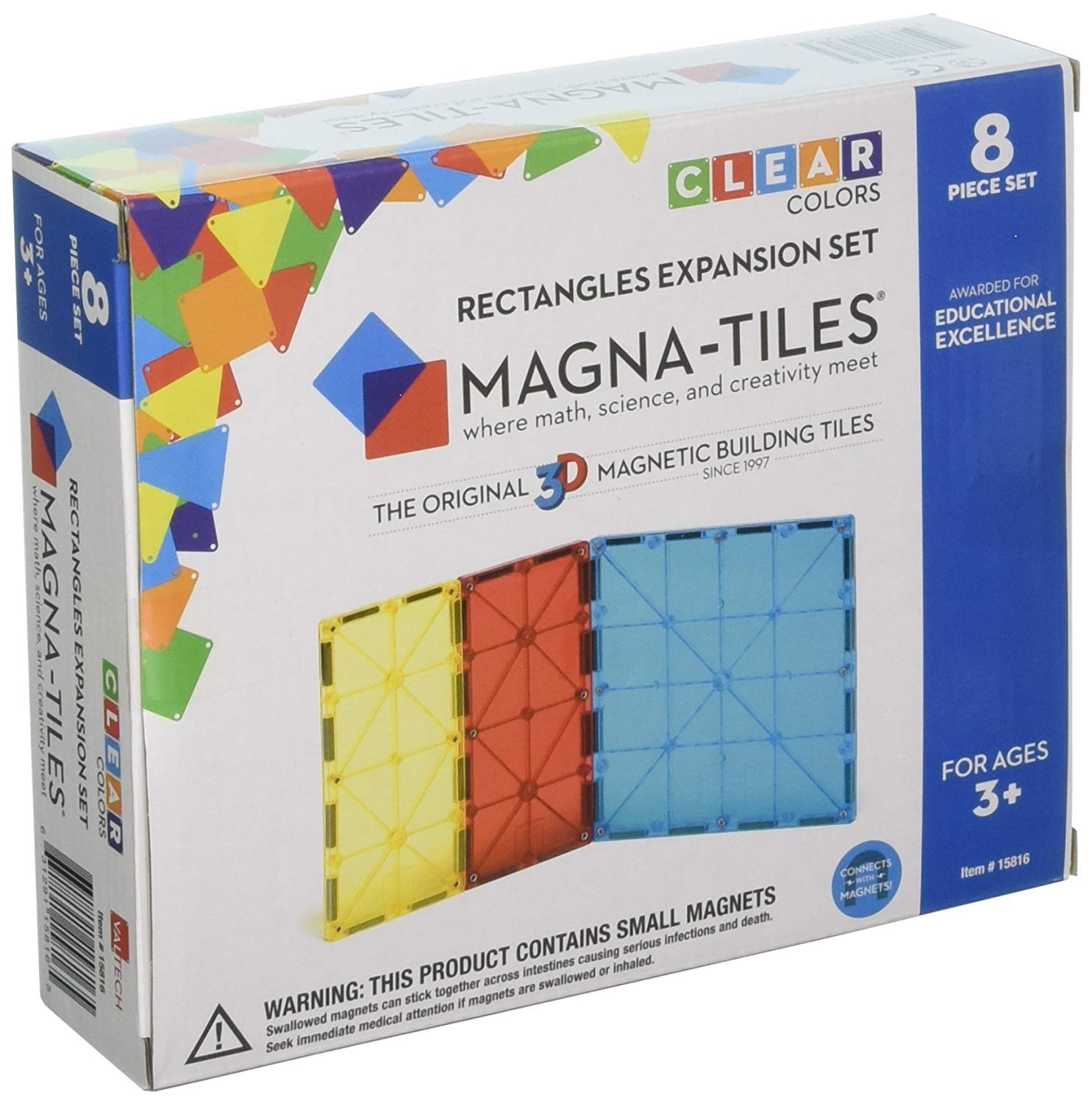 Magna-Tiles 32-Piece Clear Colors Set - The Original, Award-Winning Magnetic Building Tiles - Creativity and Educational - STEM Approved Bundled 8-Piece Rectangles Expansion Set - The by Magna-Tiles (Image #3)