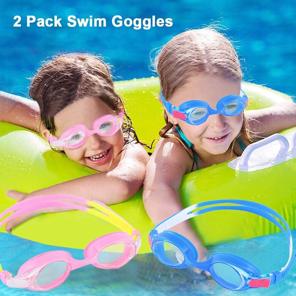 Flexible Nose Bridge Wide View Swim Glasses for Children and Teens 3D Tight Fit Design 2 Packs Anti-Fog Leak Proof Kids Swimming Goggles LOOSNHEK Swim Goggles