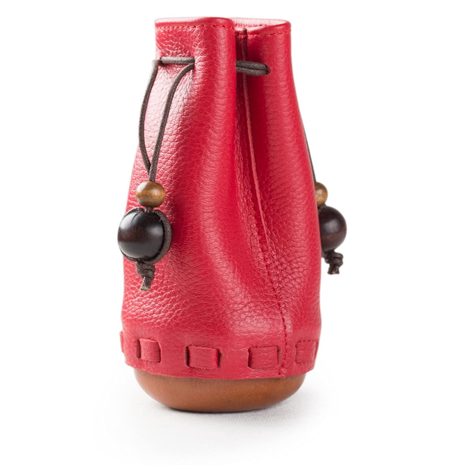 Women's Genuine Red Leather Handmade Drawstring Coin Pouch Bag