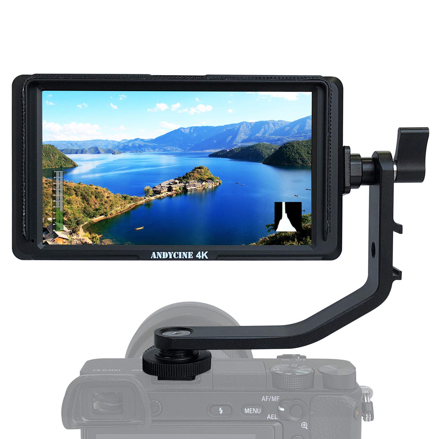 ANDYCINE A6 Lite 5inch DSLR HDMI Camera Field Monitor 1920x1080 Video Peaking Focus assits HDMI Input and Output DC Output with Tilt Arm by ANDYCINE