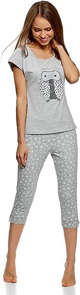 oodji Ultra Mujer Pijama de Algodón con Pantalones Piratas, Gris, ES 42 / L: Amazon.es: Ropa y accesorios