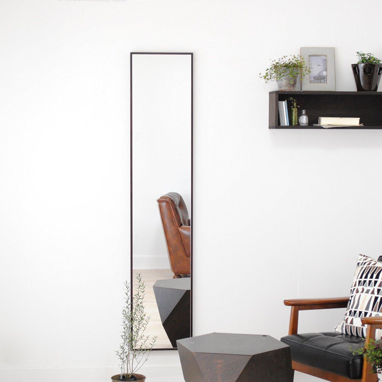SENNOKI 細枠 全身 鏡 姿見 壁掛け ウォールミラー ダークブラウン 日本製 32cm×153cm B071LFG32X ダークブラウン ダークブラウン