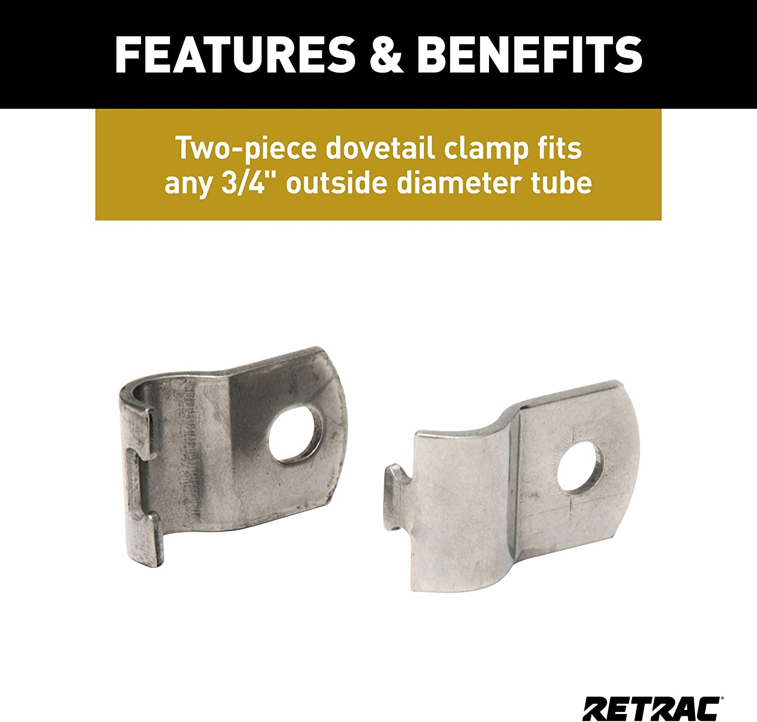3//8-In Holes RETRAC 607961 3//4-Inch Stainless Steel Dovetail Mirror Clamp