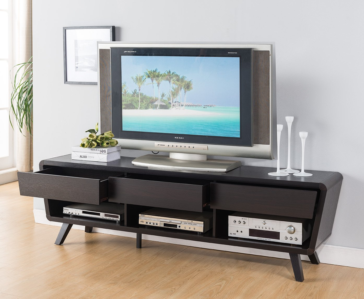 SMART HOME Suavis Media Console TV Stand (Red Cocoa) - 1 x Suavis Media Console TV Stand Finished in Red Cocoa Espresso Material: MDF and wood veneer for easy to clean - tv-stands, living-room-furniture, living-room - 71Bjqy3wTVL -