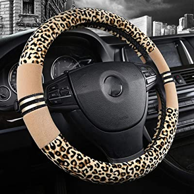 Forala Plush Car Steering Wheel Cover Luxurious Leopard Print Universal Fit for Car SUV Warm Soft Anti-Slip (Beige) (Beige): Automotive