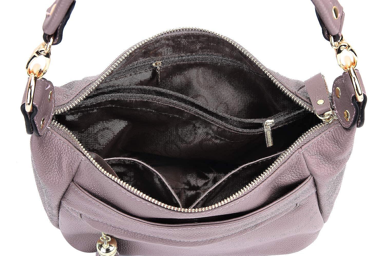 Gywon Genuine Leather Shoulder Bag Purse for Women Pocketbook with Tassels Decor